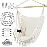 WBHome Hammock Chair Swing with Hardware Kit, Hanging Macrame Chair Cotton Canvas, Include Carry Bag & Two Soft Seat Cushions, for Bedroom Indoor Outdoor, Max. Weight 330 Lbs (Beige)