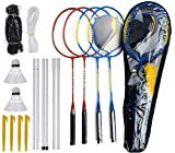 Blesseza Complete Badminton Set - Badminton Rackets Set of 4 Players with Badminton Net and Badminton Shuttlecocks - Perfect for Backyard Lawn Outdoor Game for Adults and Kids