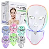 Red Light Therapy LED Face Mask Neck 7 Color | LED Mask Therapy Facial Photon For Healthy Skin Rejuvenation | Collagen, Anti Aging, Wrinkles, Scarring | Korean Skin Care, Facial Skin Care Mask (Off-white)