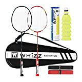 Whizz Heavy Duty Graphite Badminton Racket, Full Carbon Fiber Professional Set for Adults, with Badminton Bag & 2 Racquet Grip (Y5Y6 Black+Red)