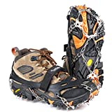 Crampons Upgraded 19 Spikes Ice Snow Grips Traction Cleats System Safe Protect for Walking, Jogging, or Hiking on Snow and Ice (Fit S/M/L/XL/XXL Shoes/Boots) (Carbon Black, Large)