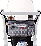 Baby Stroller Organizer Bag with Cup Holders Universal Lekebaby Stroller Organizer Accessory Fit for All Baby Stroller (Arrow Print)-Grey