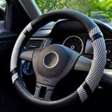 BOKIN Steering Wheel Cover Microfiber Leather Viscose, Breathable, Anti-Slip, Odorless, Warm in Winter Cool in Summer, Universal 15 Inches(Gray)