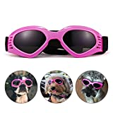 PEDOMUS Dog Goggles Dog Sunglasses Adjustable Strap for UV Sunglasses Waterproof Protection for Dog Pink
