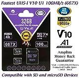 TF Card 32GB Micro SD Card 2 Pack Plus Adapter. Amplim High Speed 32 GB Class 10 MicroSDHC Micro SDHC Mini SD Memory Card for Nintendo, Android Phone Samsung LG Moto, GoPro Hero, Drone, Roku, Cameras