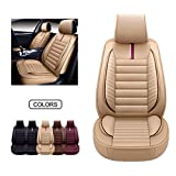 OASIS AUTO Leather Car Seat Covers, Faux Leatherette Automotive Vehicle Cushion Cover for Cars SUV Pick-up Truck Universal Fit Set for Auto Interior Accessories (OS-001 Front Pair, TAN)