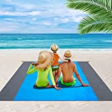 OVINESY Beach Blanket Waterproof Sandproof, 83'X79' Oversized Beach Mat for 4-7 Adults, Durable Beach Blanket with Stakes, Lightweight Sand Free Beach Blanket for Travel/Camping/Picnic/Hiking-Blue