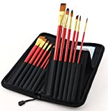 Magic Touches Artist Paint Brush Set, Top Quality Artists Paintbrushes for Watercolor, Acrylic, Gouache & Oil Painting, Well Balanced, Long Handle with Finest Bristles, Set of 12