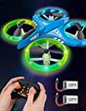 Dwi Dowellin Mini Drone for Kids Crash Proof LED Night Lights One Key Take Off Landing Flips RC Remote Control Small Flying Toys Drones for Beginners Boys and Girls Adults Nano Quadcopter, Blue