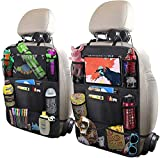UCART Car Backseat Organizer with 10' Table Holder, 9 Storage Pockets Seat Back Protectors Kick Mats for Kids Toddlers, Travel Accessories, Black, 2 Pack
