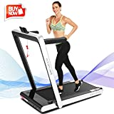 ANCHEER 2 in1 Folding Treadmill, 2.25HP Under Desk Electric Treadmill with Remote Control and Bluetooth Speaker & LCD Monitor,Installation-Free,Exercise Fitness Machine for Home/Office Use