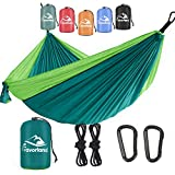 Favorland Camping Hammock for Hiking, Backpacking, Travel, Beach, Yard - Lightweight & Portable with Straps & Steel Carabiners Nylon (Green)