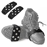 FANBX F Crampon Traction Cleats Anti-Skid Traction Grips Crampons Spikes 7 Point Cleats for Footwear for Walking, Jogging, Hiking, Mountaineering Ice Snow Grips (Black)