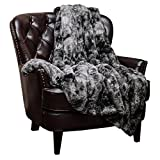 Chanasya Fuzzy Faux Fur Throw Blanket - Soft Light Weight Blanket for Bed Couch and Living Room Suitable for Fall Winter and Spring (50x65 Inches) Gray