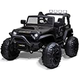 Uenjoy 12V Large Kids Electric Ride on Car 2 Seats Motorized Truck Battery Powered Children Electric Vehicles, Wheels Suspension, Remote Control, LED Lights, Music, Bluetooth, Black