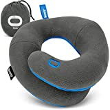BCOZZY Chin Supporting Travel Neck Pillow - for Traveling and Comfortable Sleep on Airplane, Car Road Trips, Bus, Train, or at Home. Fully Machine Washable. Adult, Gray