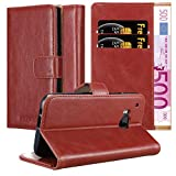 Cadorabo Book Case Compatible with HTC ONE M9 in Candy Apple RED - with Magnetic Closure, Stand Function and Card Slot - Wallet Etui Cover Pouch PU Leather Flip