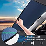 Retractable Windshield Sun Shade for Car, Cordless Cellular Sun Visor Protector Blocks 99% UV Rays to Keep The Vehicle Cool, Honeycomb Sunshade Fits Various Models with 3 Suction Cups (65CM/25.6IN)
