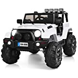 Costzon Ride On Truck, 12V Battery Powered Electric Ride On Car w/ 2.4 GHZ Bluetooth Parental Remote Control, LED Lights, Double Open Doors, Safety Belt, Music, MP3, Spring Suspension (Pure White)