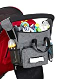 Baby Stroller Organizer Caddy with 2 Thermal Insulation and Waterproof Cup Holder, for Diaper, Phone, Tissue etc. Secured Fit with Grip Handlebar, Extra Storage for Universal Stroller