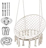 Hammock Chair with Durable Hanging Hardware Kit, Exquisite Dreamy Round Hanging Chair, 100% Cotton Rope Macrame Swing Chairs for Indoor/Outdoor Bedroom Patio Deck or Garden, Max 550LBs, Beige