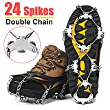 Wirezoll Traction Cleats, Upgraded Version of 19 Teeth Stainless Steel Spikes for Walking, Jogging, or Hiking on Snow and Ice -1 Pair (Black, XL)