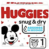 Huggies Snug & Dry Baby Diapers, Size 1, 256 Ct, One Month Supply