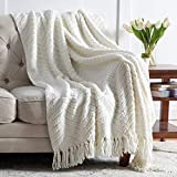 Bedsure Cream White Throw Blanket for Couch, Knit Woven Chenille Blanket for Chair, 50 x 60 Inch - Super Soft Warm Decorative Ivory Blanket with Tassels for Bed, Sofa and Living Room
