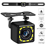 Car Backup Camera, Rear View Camera Ultra HD 12 LED Night Vision,Waterproof Reverse Camera 140° Wide View Angel with Multiple Mount Brackets for Universal Cars,SUV,Trucks,RV and More