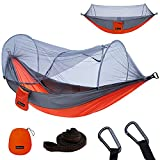 YOOMO Camping Hammock with Mosquito Net & 10ft Hammock Tree Straps Portable Lightweight Parachute Fabric Travel Bed for Hiking, Backpacking, Garden. (Gray/Orange)