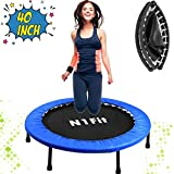 N1Fit 40' Mini Trampoline for Adults - Exercise Trampoline, Mini Trampolines, Personal Trampoline, Trampoline Small Indoor, Rebounding Tiny Trampoline with Springs System for Home Cardio Workouts