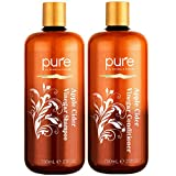 Apple Cider Vinegar Shampoo and Conditioner Set. Sulfate Free Shampoo Conditioner Set for Damaged, Oily Hair. Shampoo & Conditioner Combo Pack to Reduce Dandruff, Frizz, Split Ends,
