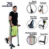 Ergobaum 7G by Ergoactives. 1 Pair (2 Units) of Ergonomic Forearm Crutches - Adult 5' - 6'6'' Adjustable, Foldable, Ergonomic, Shock Absorber, Non-Slip, Knee-Rest Platforms, LED Lights (Black)