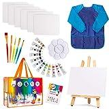 Kids Art Set | 27-Piece Acrylic Paint Set with 5 Paint Brushes 8x10 Painting Canvas Tabletop Easel & Bonus Art Smock Paint Palette Color Mixing Chart (Acrylic Paint Set)