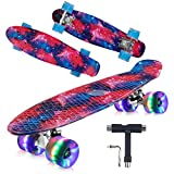 Geelife 22' Complete Mini Cruiser Skateboard for Beginners Youths Teens Girls Boys with LED Wheels (Nebulae)