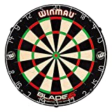 Winmau Blade 5 Bristle Dartboard with All-New Thinner Wiring for Higher Scoring and Reduced Bounce-Outs , BLACK WHITE RED, 1.50 x 17.75 x 17.75 inches