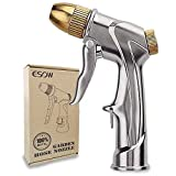 ESOW Garden Hose Nozzle, 100% Heavy Duty Metal Spray Gun with Full Brass Nozzle, 4 Watering Patterns Watering Nozzle- High Pressure Pistol Grip Sprayer for Watering Plants, Car Wash and Showering Dog