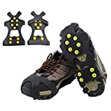HoFire Ice Cleats, Ice Grips Traction Cleats Grippers Non-Slip Over Shoe/Boot Rubber Spikes Crampons Anti Easy Slip 10 Steel Studs Crampons Slip-on Stretch Footwear (10-Studs-Black, S)
