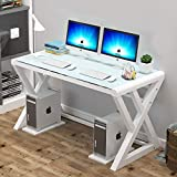 Glass Computer Desk with Metal Frame, Home Office Desks Computer Table Modern Simple Office Study Gaming Work Writing Desk Table for Home Office (X-White-55.1inch)