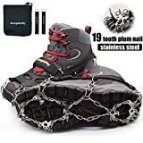 Hapshop Crampons-19 Teeth Stainless Steel Anti Slip Ice Cleats,Micro Spikes ice Snow Grips Traction Cleats System Safe Protect for Walking,Suitable for Walking on ice, Jogging or Hiking. (Black, XL)