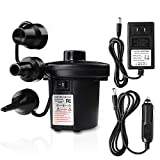 Powerful Electric Air Pump Portable Air Pump Quick-Fill AC Inflator with 3 Nozzles for Outdoor Camping, Inflatable Cushions, Air Mattress Beds, Swimming Ring 110 V AC/12V DC (70W)