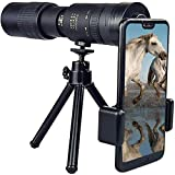 4K 10-300X40Mm Super Telescope Monocular Telescope for Mobile Phone, with Smartphone Adapter Tripod Suit for Hiking Camping Bird Watching Best Gifts for Men Pirate Navigation (4K 10-300X40Mm)