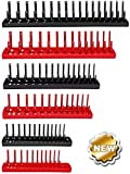 TANCHEN Socket Organizer Trays - 6PCS Socket Tray Set Black SAE & Red Metric, 1/4-Inch, 3/8-Inch & 1/2-Inch Drive Socket Holder
