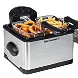 Elite Gourmet 1700-Watt Stainless-Steel 3-Basket Electric Deep Fryer with Timer and Temperature Knobs, 4.2L/17-Cup, Stainless Steel
