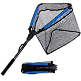 PLUSINNO Fishing Net, Floating Rubber Coated Landing Net - Easy Catch Release,Foldable Fishing Net for Easy Transport Storage for Bass Trout Catfish Pike Salmon Fly Kayak Fishing