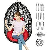 Greenstell Egg Hammock Chair with Hanging Kits Got EN 581 Quality Inspection Report Issued by SGS, Rattan Wicker Swing Hanging Chair with Cushion Pillow for Indoor Outdoor, Patio, Garden, Yard (Black)