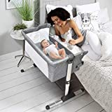 HONEY JOY Baby Bedside Crib, Foldable Baby Bedside Bassinet w/Carrying Bag, Breathable Mesh & Mattress, Adjustable Height & Angle, Bed to Bed Baby Co Sleeper for Infants Newborn Girl Boy, Gray