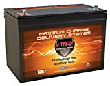 VMAX MR127 12 Volt 100Ah AGM Deep Cycle Maintenance Free Battery Compatible with Boats and 40-100lb, minnkota, Cobra, sevylor and Other trolling Motor (Group 27 Marine Deep Cycle AGM Battery)