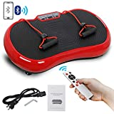 SUPER DEAL Pro Vibration Plate Exercise Machine - Whole Body Workout Vibration Fitness Platform Fit Massage Workout Trainer w/Loop Bands + Bluetooth + Remote, 99 Levels (Red)
