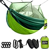 Hieha Travel Camping Hammock with Mosquito Net, Portable Double / Single Tree Hammocks with Bug Insect Netting, Lightweight Nylon Parachute Hammocks for Outdoor Camping, Backpacking, Hiking, Backyard